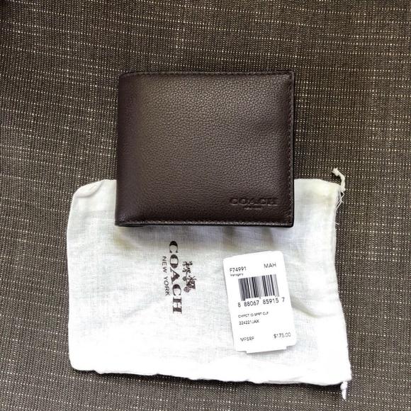 909742413c93 Coach F74991 Mahogany Compact ID Sport Calf Wallet